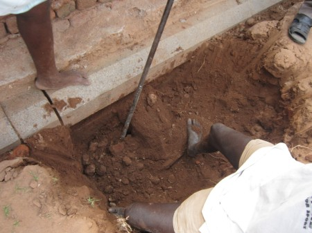 A sample excavation to assess the depth in progress